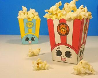 "3"" Poppy Corn Popcorn Boxes - Shopkins Birthday Party Red & Blue"