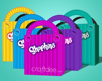 5 - Printable Shopkins Shopping Bags - Pink, Purple, Blue, Yellow and Teal