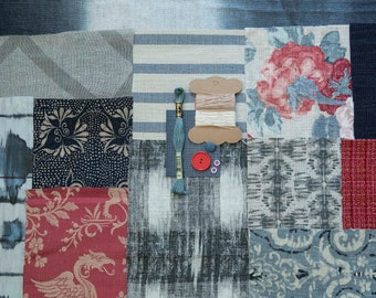 Boro kit. Blue, grey, pink designer textiles slow stitch kit. Inspirational remnants bundle for junk journals, fabric art, creative sewing.