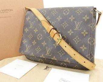 af46a5118520c Authentische Louis Vuitton Musette Tango braun Monogram Canvas  Umhängetasche Louis Vuitton 1998 Handtasche. LV-Box Staubbeutel    Pflege-Karte