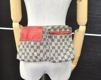 3c40e4220aab GUCCI Authentic Canvas Web Waist Bag Fanny Pack Purse Navy Blue Red GG.  Classic Vintage Gucci Buckle Purse.