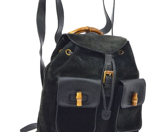 0f588965a7ab Authentic GUCCI Black Suede Leather Bamboo Handle Backpack Bag Vintage GG  Gucci Large Purse.