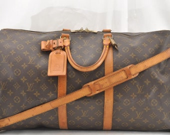 58c660fb742a Authentic Louis Vuitton Monogram Canvas Keepall Bandouliere 55 Unisex  Duffle Hand Bag Long Strap Vintage 1991 Louis Vuitton LV Lock Key Set!