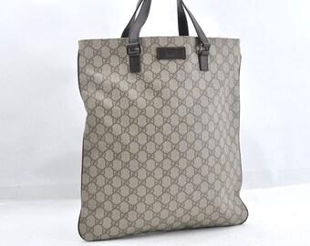 a4837feb767a Authentic GUCCI Brown Handbag Large Tote Bag Vintage GG Web Print Pattern  Fabric Gucci Shoulder Bag Purse.