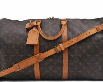 1497af3c165d Authentic Louis Vuitton Monogram Canvas Keepall Bandouliere 55 Unisex Duffle  Hand Bag Detachable Strap Vintage 1990 Louis Vuitton LV Tavel