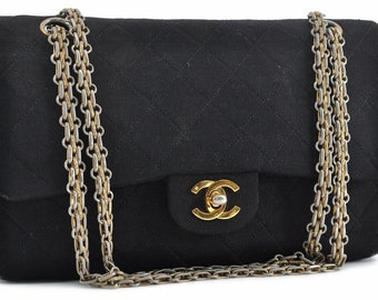 8a9e7d68ce27ca Authentic COCO CHANEL Matelasse 25 Double Chain Shoulder Bag Black CC  Vintage Purse 1980's
