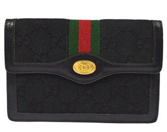 5255d1cdba82 Authentic GUCCI Canvas Sherry Line Web Wallet Clutch Bag Black GG. Classic  Vintage Gucci Wallet Handbag Purse.