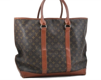 e8365bb6fefc Authentic Louis Vuitton Brown Monogram Canvas Sac Weekend Large GM Tote  Purse Vintage Louis Vuitton LV 1985