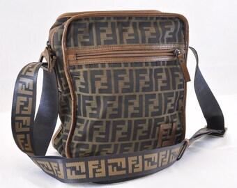 203db98e92 Authentic FENDI Zucca Shoulder Bag Crossbody Purse Canvas Leather Brown. FF Fendi  Monogram Material. Fendi Dustbag!