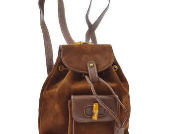 11a5456fd932 Authentic GUCCI Brown Leather Bamboo Handle Backpack Bag Vintage GG Gucci  Large Purse.