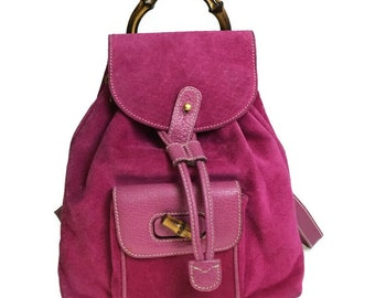 013b50506e9 Authentic GUCCI Pink Leather Suede Bamboo Handle Backpack Bag Vintage GG Gucci  Purse