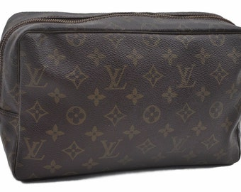Authentic Louis Vuitton Brown Monogram Canvas Trousse Toilette 28 Pochette  Unisex Clutch Cosmetic Bag Vintage Louis Vuitton 1989 Purse 88d7f8f9a9c01