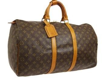 80b681f0c3d Authentic Louis Vuitton Monogram Canvas Keepall 50 Unisex Duffle Hand Bag  Vintage 1989 Louis Vuitton Purse Travel Luggage