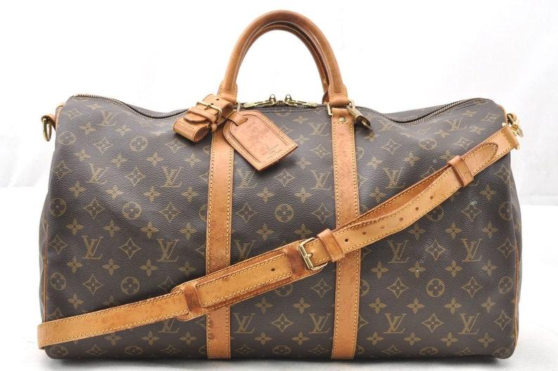66a410f380cd Authentic Louis Vuitton Monogram LV Canvas Keepall Bandouliere