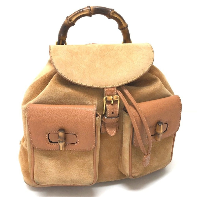 9b9436d8db2 Authentic GUCCI Beige Tan Suede Leather Bamboo Handle Backpack