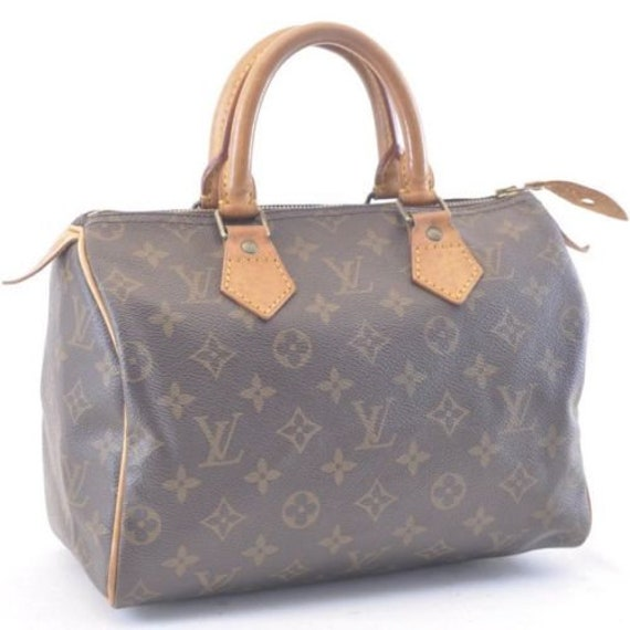 Authentic Louis Vuitton Brown Monogram Canvas Speedy 25   Etsy dfa03ffddb