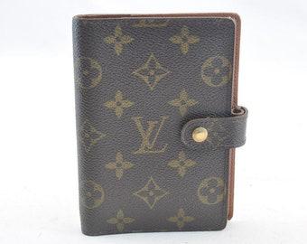 Authentic Louis Vuitton Brown Monogram Canvas Unisex Leather Agenda PM Cover Vintage Louis Vuitton 1997 LV Print Fabric