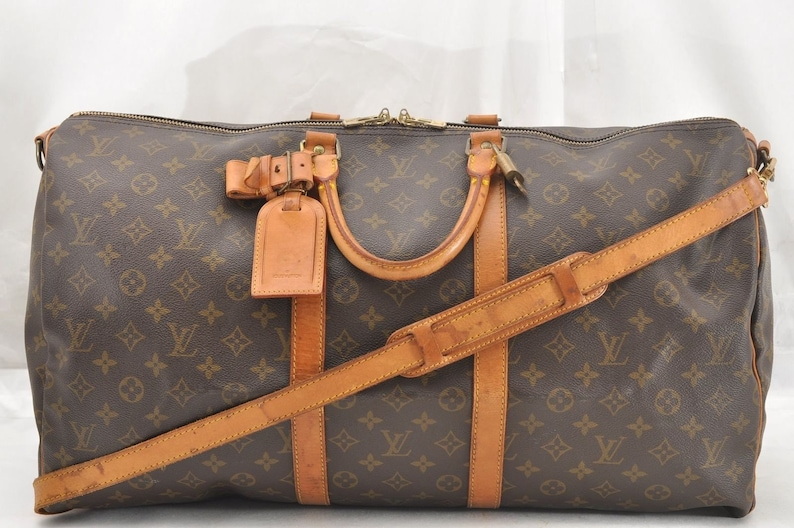 257128f4c2f Authentic Louis Vuitton Monogram Canvas Keepall Bandouliere 55