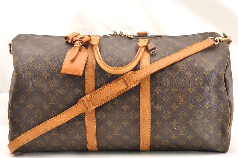 ec7c1b84883d Authentic Louis Vuitton Monogram Canvas Keepall Bandouliere 55