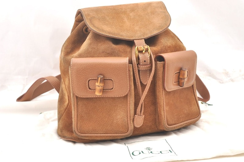 e11db25b6b7 Authentic GUCCI Beige Tan Suede Leather Bamboo Handle Backpack