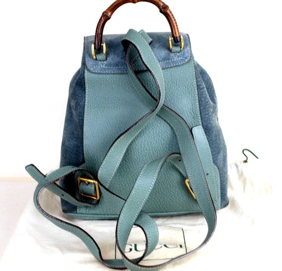 106bfb11562 Authentic GUCCI Aqua Green Blue Leather Suede Bamboo Handle