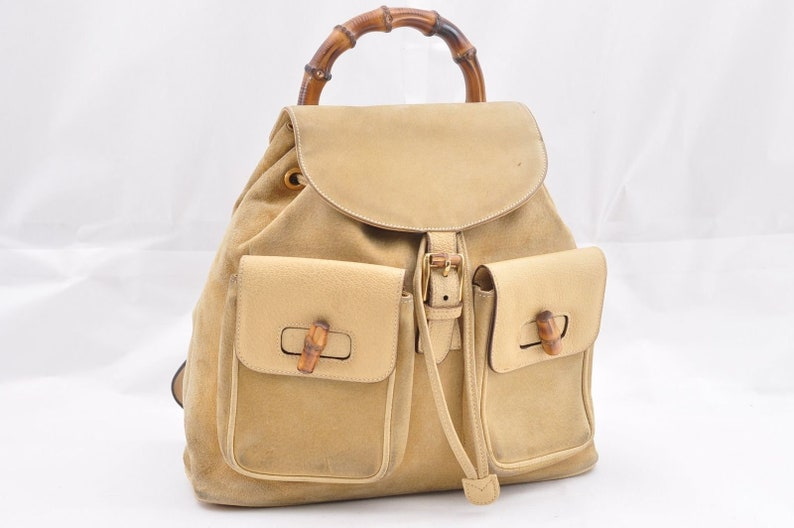 2589c0589a8 Authentic GUCCI Beige Tan Suede Leather Bamboo Handle Backpack