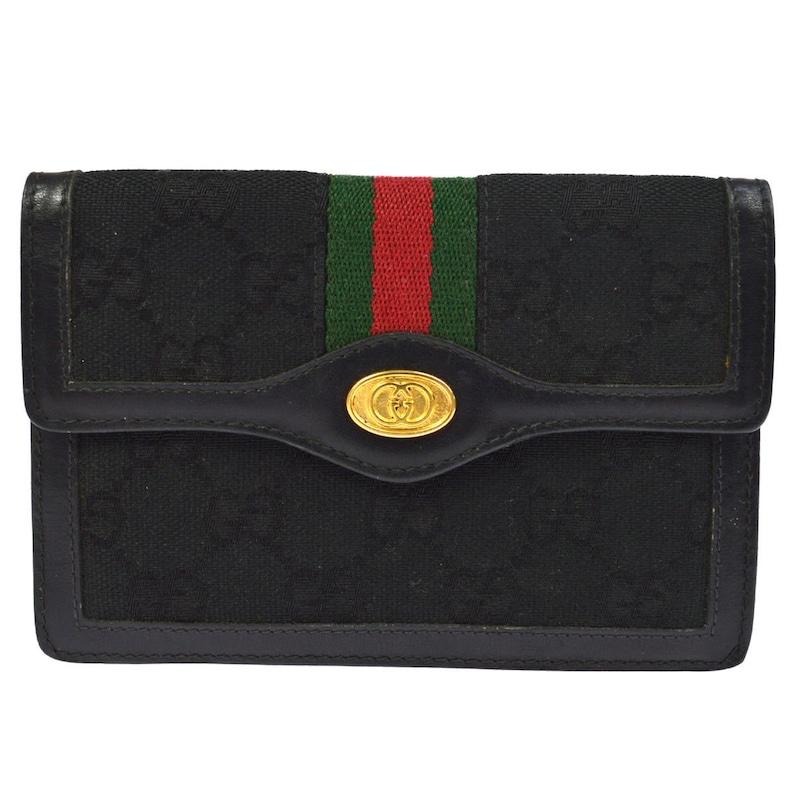 9906b5577f12 Authentic GUCCI Canvas Sherry Line Web Wallet Clutch Bag Black | Etsy