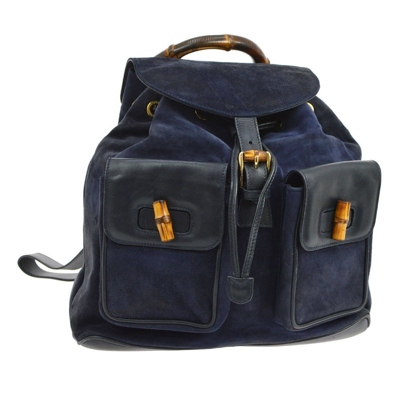 Authentic GUCCI Navy Blue Suede Leather Bamboo Handle Backpack  628a3ea183876