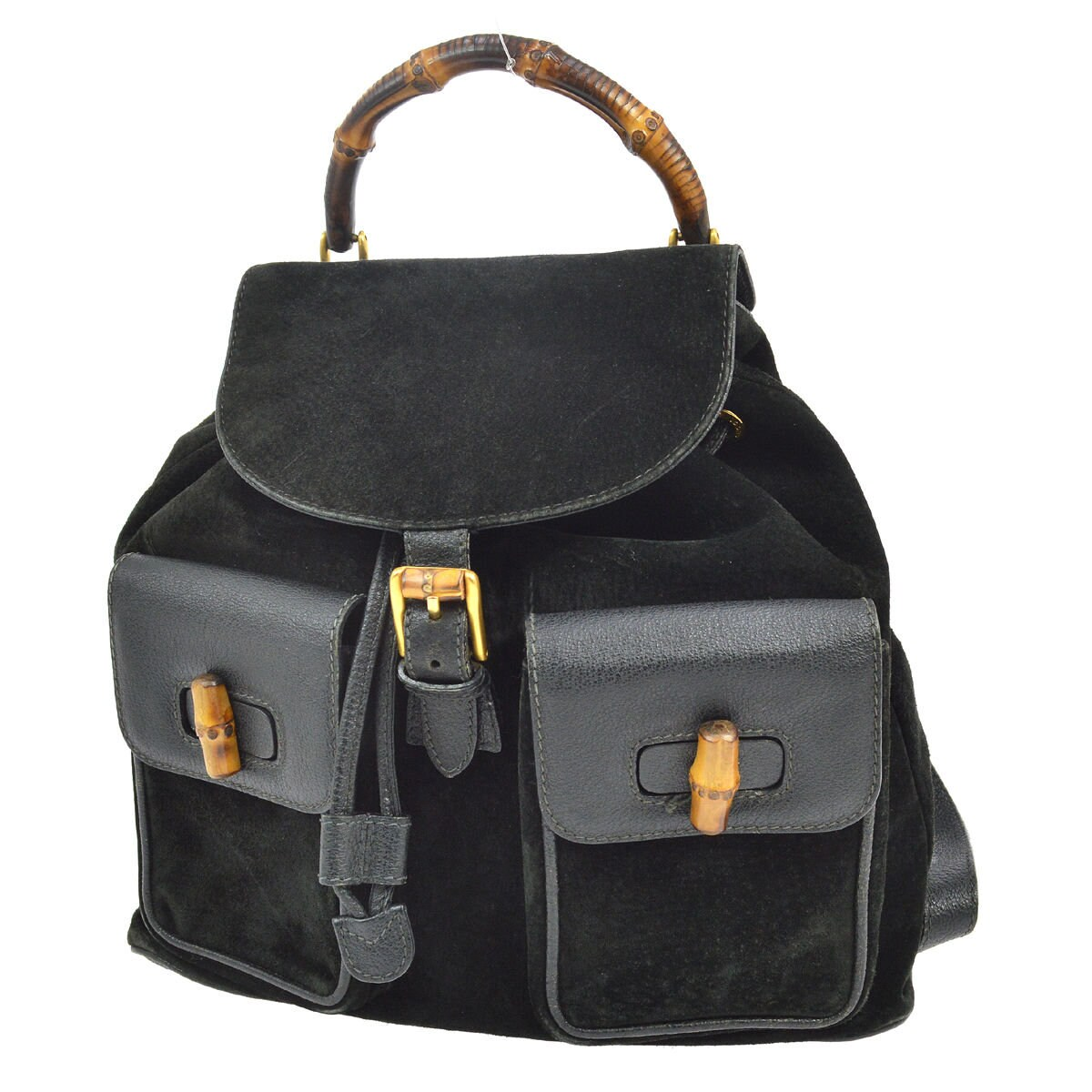 e85c023f5a0 Authentic GUCCI Black Suede Leather Bamboo Handle Backpack Bag
