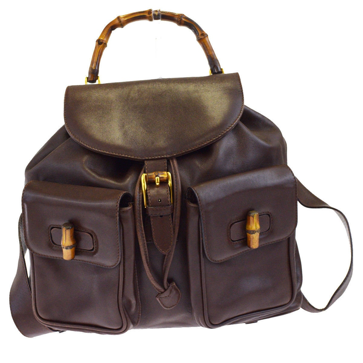 0c190f9b6b7 Authentic GUCCI Brown Leather Bamboo Handle Backpack Bag