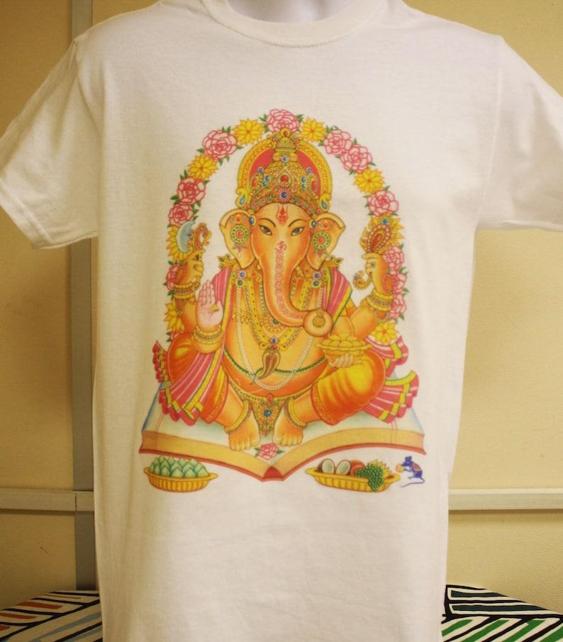 Ganesha God T Shirt Ganesh Spiritual Religious Vinayaka Hippy Ohm Auhm Vintage