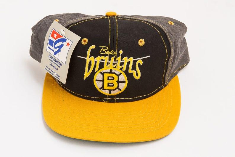 0ad15a39ecf Vintage 90 s Boston Bruins Snapback Hat RARE Deadstock