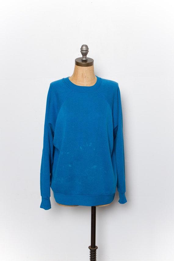 vintage blue raglan sweatshirt | 80s DISTRESSED
