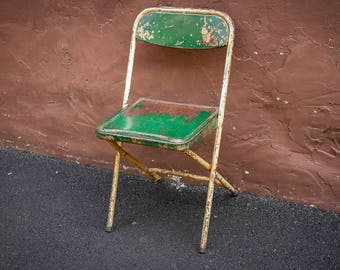 Industrial Metal Folding Chair (c.1960s)| Wrecked Distressed Salvaged | SteamPunk |  Urban Decor | Film Prop | Green Chair