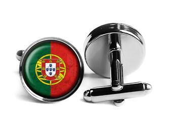 Portugal Map Shape and Flag Design Cufflinks