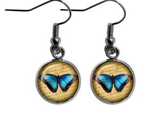 Blue Butterfly and Script Earrings