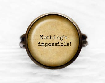 """Alice in Wonderland """"Nothing's Impossible!"""" Adjustable Ring"""