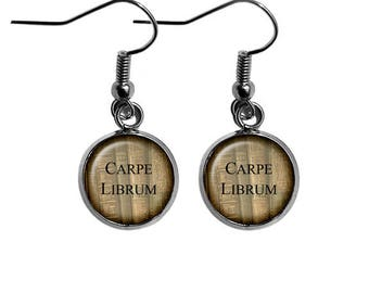 Latin Quote Carpe Seize the Book Librum Earrings
