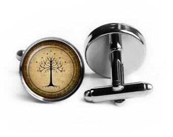 """J.R.R. Tolkien """"One Ring To Rule Them All.."""" White Tree of Gondor Elven Script Cufflinks"""