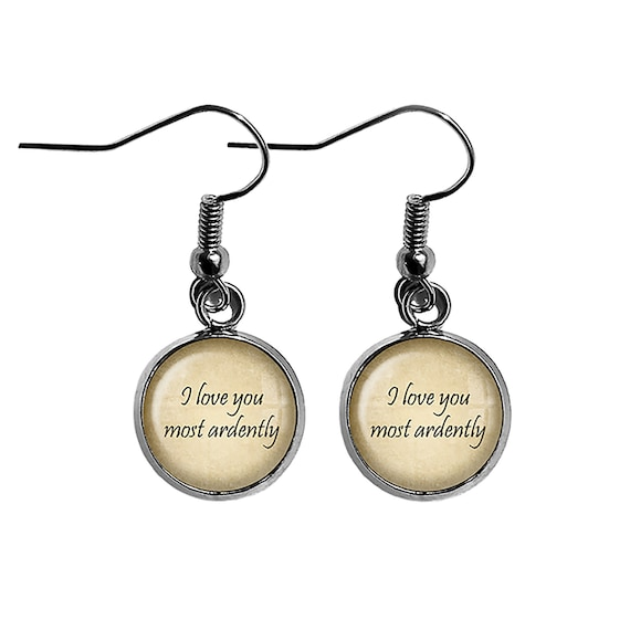 Jane Austen I love You Most Ardently Antique Bronze Earrings