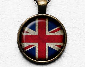 United Kingdom UK Commonwealth Union Jack Flag Pendant & Necklace