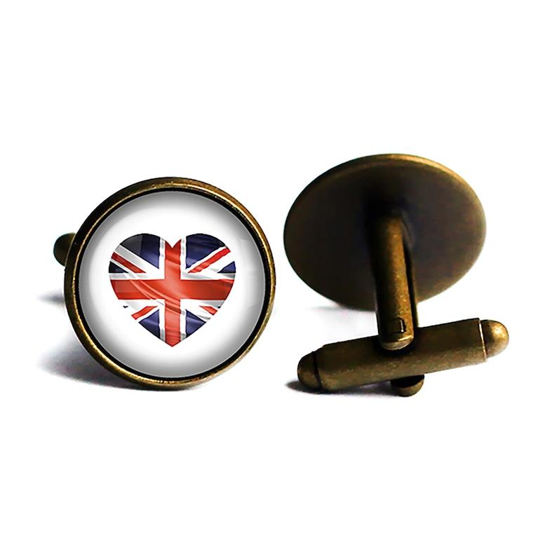 UK United Kingdom Flag Heart Cufflinks