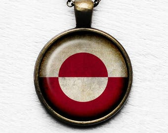 Greenland Greenlandic Flag Pendant & Necklace