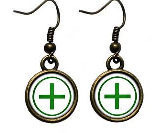 Celtic Cross - Ailm - Green on White Earrings