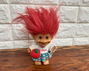 vintage russ berrie A+ teacher troll doll with apple ruler red hair | collectible