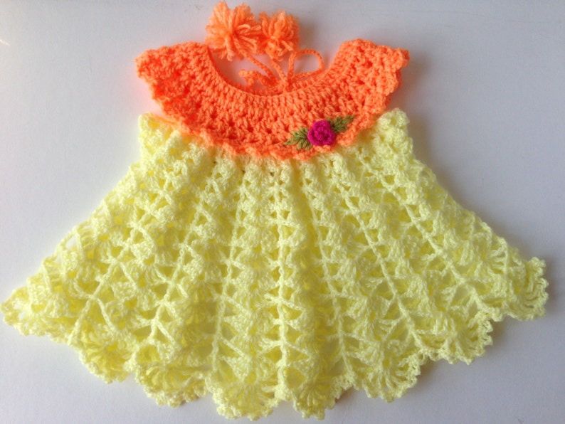 3479fe676 Lemon Yellow Crochet Baby Dress Handmade Wool Dress Woolen