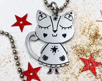 Kitty Love | Steel Pendant | Good Luck charm | Burabacio's Necklace