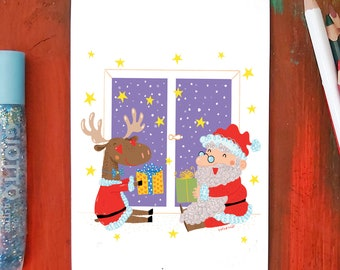 Santa claus and the reindeer | Greeting card | Size 10 x 15 cm | Color printing on cardboard | White back | Burabacius