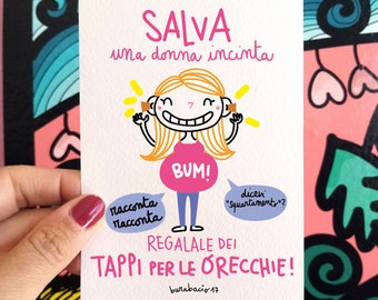 Save a pregnant woman | Greeting card | Size 10 x 15 cm | Color print on cardboard | White back | Burabacius