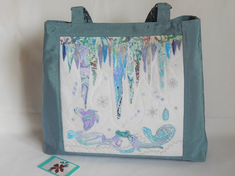 Exclusive statement tote bag with appliqued textile art front image 0